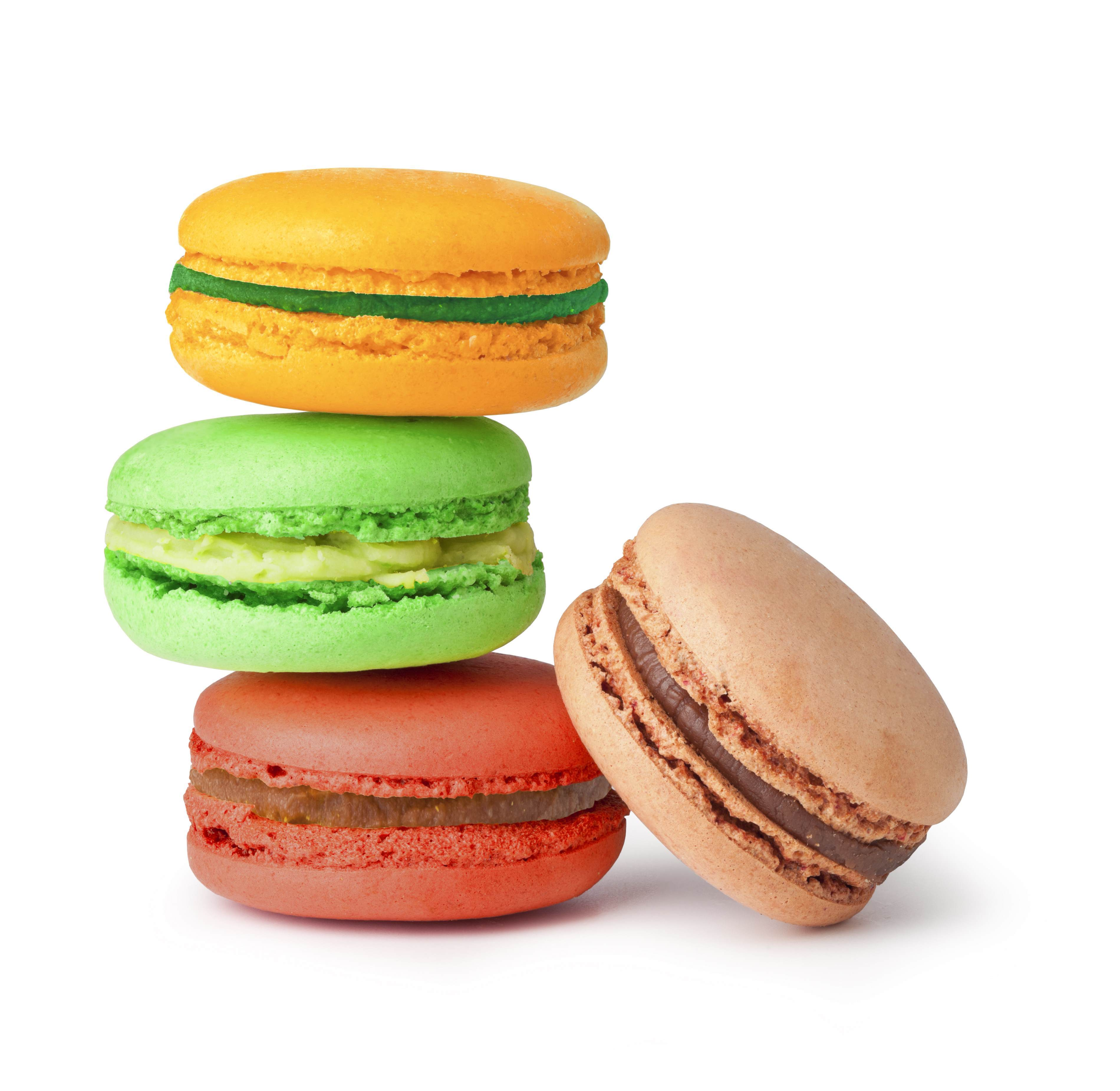 4 colourful macarons, orange, green, red and brown one